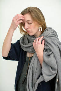 Moss Grey, Made in BC, Ethically Produced, Linen, Shawl, Light Grey