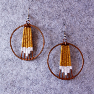 Handmade, Jewelry, Earrings, Cotton, Copper, Circle, Yellow