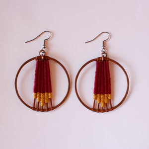 Handmade, Jewelry, Earrings, Cotton, Copper, Circle, Red