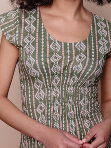 Mata Traders, Cotton, Made in India, Ethically Produced, Fair trade, Women's Co-operative, Dress, Cap Sleeve, Block Print,  Clover, Green