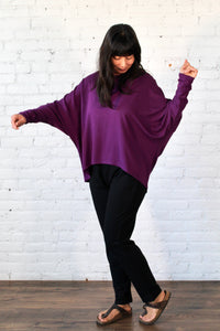 Gilmour, Ethically Made, Sustainable Loungewear, Bamboo, Made in Canada, French Terry, Sweatshirt, Plum, Purple
