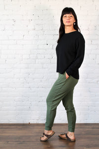 Gilmour, Ethically Made, Sustainable Loungewear, Bamboo, Made in Canada, French Terry, Crop Sweatshirt, Black