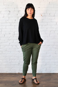 Gilmour, Ethically Made, Sustainable Loungewear, Made in Canada, Bamboo, French Terry, Crop Sweatshirt, Black