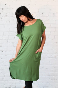 Gilmour, Ethically Made, Sustainable Loungewear, Bamboo, Short Sleeve, Made in Canada, Pocket Dress, Grass, Green