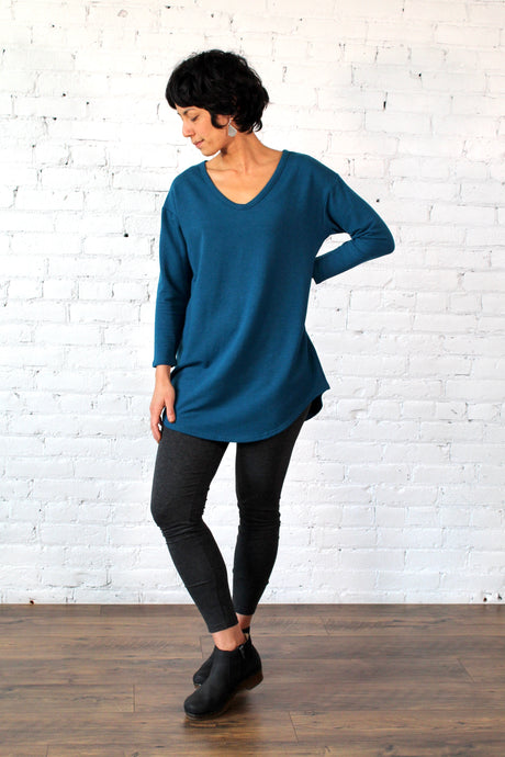 Gilmour, Ethically Made, Sustainable Loungewear, Bamboo, Made in Canada, French Terry, Tunic, Moroccan, Blue