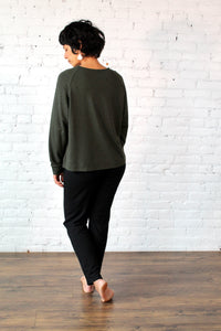 Gilmour, Loungewear, Ethically Made, Sustainable, Made in Canada, Bamboo, Crop Sweatshirt, Charcoal Grey