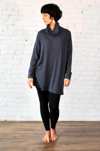 Gilmour, Ethically Made, Sustainable Loungewear, Modal, Made in Canada, Sweater Knit,  Cowl Neck,  Slate, Grey