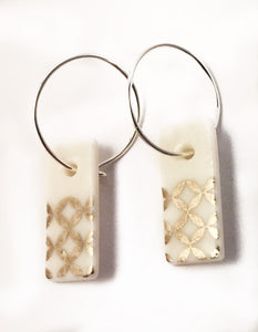 Platinum White Porcelain Hoop Earrings
