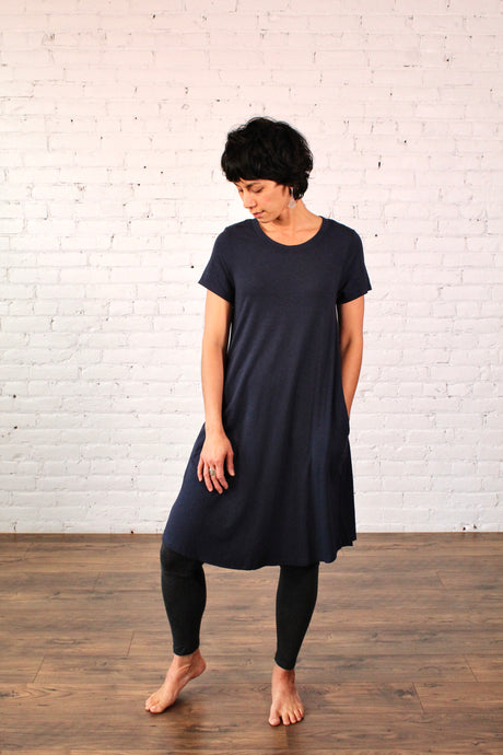 Gilmour, Ethically Made, Sustainable Loungewear, Made in Canada, Bamboo, Tshirt Dress, Short Sleeve, Navy, Blue