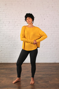 Gilmour, Ethically Made, Made in Canada, Sustainable, Loungewear, Modal, Sweater Knit, Crop Top, Long Sleeve, Gold, Yellow