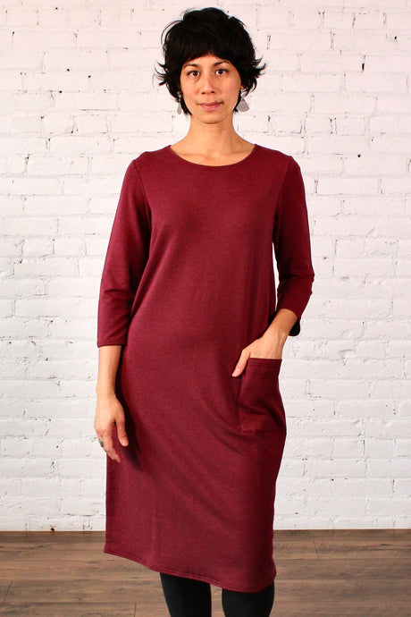 Gilmour, Ethically Made, Sustainable Loungewear, Made in Canada, Bamboo, French Terry, Pocket, Dress, Merlot, Red