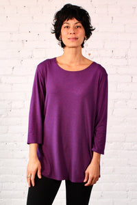 Gilmour, Ethically Made, Sustainable Loungewear, Made in Canada, Bamboo, Tunic, Boysenberry, Purple