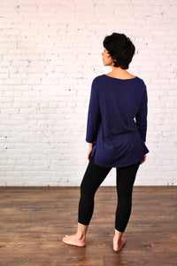 Gilmour, Ethically Made, Sustainable Loungewear, Made in Canada, Bamboo, Tunic, Flight, Blue