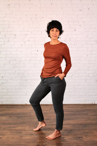 Gilmour, Ethically Made, Made in Canada, Bamboo, Sustainable, Loungewear, Long Sleeve, Ribbed, Layering, Pecan