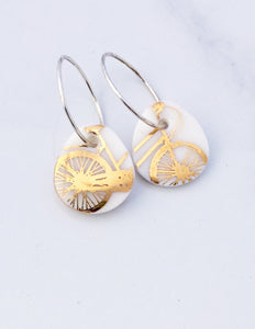 Gold Bike Earrings