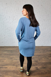 Gilmour, Ethically Made, Sustainable Loungewear, Made in Canada, Bamboo, French Terry, Raglan, Dress, Long Sleeve, Blue