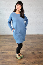 Load image into Gallery viewer, Gilmour, Ethically Made, Sustainable Loungewear, Made in Canada, Bamboo, French Terry, Raglan, Dress, Long Sleeve, Blue