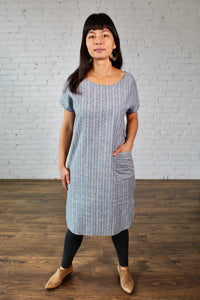Gilmour, Ethically Made, Sustainable Loungewear, Made in Canada, Hemp, Cotton, Shirttail, Dress, Pocket, Ministripe