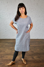 Load image into Gallery viewer, Gilmour, Ethically Made, Sustainable Loungewear, Made in Canada, Hemp, Cotton, Shirttail, Dress, Pocket, Ministripe