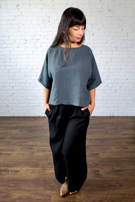 Moss Grey, Made in BC, Ethically Produced, Loungewear, Linen, Oversize, Dolman Sleeve, Top, Slate, Blue