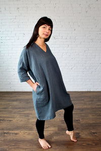 Moss Grey, Made in BC, Ethically Produced, Linen, Dress, V Neck, 3/4 Sleeves, Slate, Blue