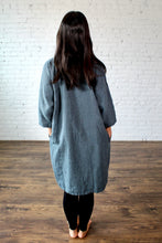Load image into Gallery viewer, Moss Grey, Made in BC, Ethically Produced, Linen, Dress, V Neck, 3/4 Sleeves, Slate, Blue