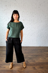 Jimi Collection, Linen, Made in Canada, Ethically Produced, Sustainable Fashion, Top, Dolman Sleeve, Forest, Green