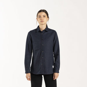 Anian, Made in Canada, Ethically Made, Recycled Wool, Melton, Long Sleeve, Navy, Blue