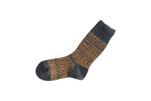 Load image into Gallery viewer, Nishiguchi Kutsushita, Wool, Made in Japan, Ethically Produced, Socks, Jaquard, Patterned, Navy, Blue