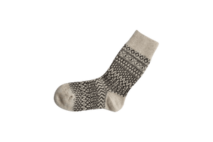 Nishiguchi Kutsushita, Wool, Made in Japan, Ethically Produced, Socks, Jaquard, Patterned, Oatmeal