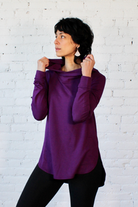 Gilmour, Ethically Made, Sustainable Loungewear, Made in Canada, Bamboo French Terry, Hoodie, Raisin, Purple