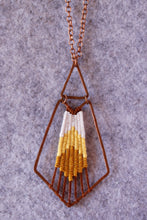 Load image into Gallery viewer, Handmade, Jewelry, Pendant, Necklace, Cotton, Copper, Yellow