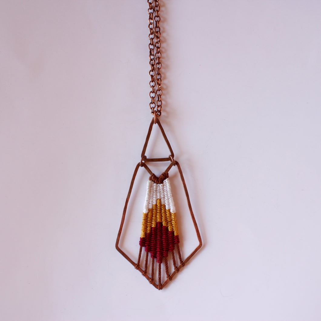 Handmade, Jewelry, Pendant, Necklace, Cotton, Copper, Red