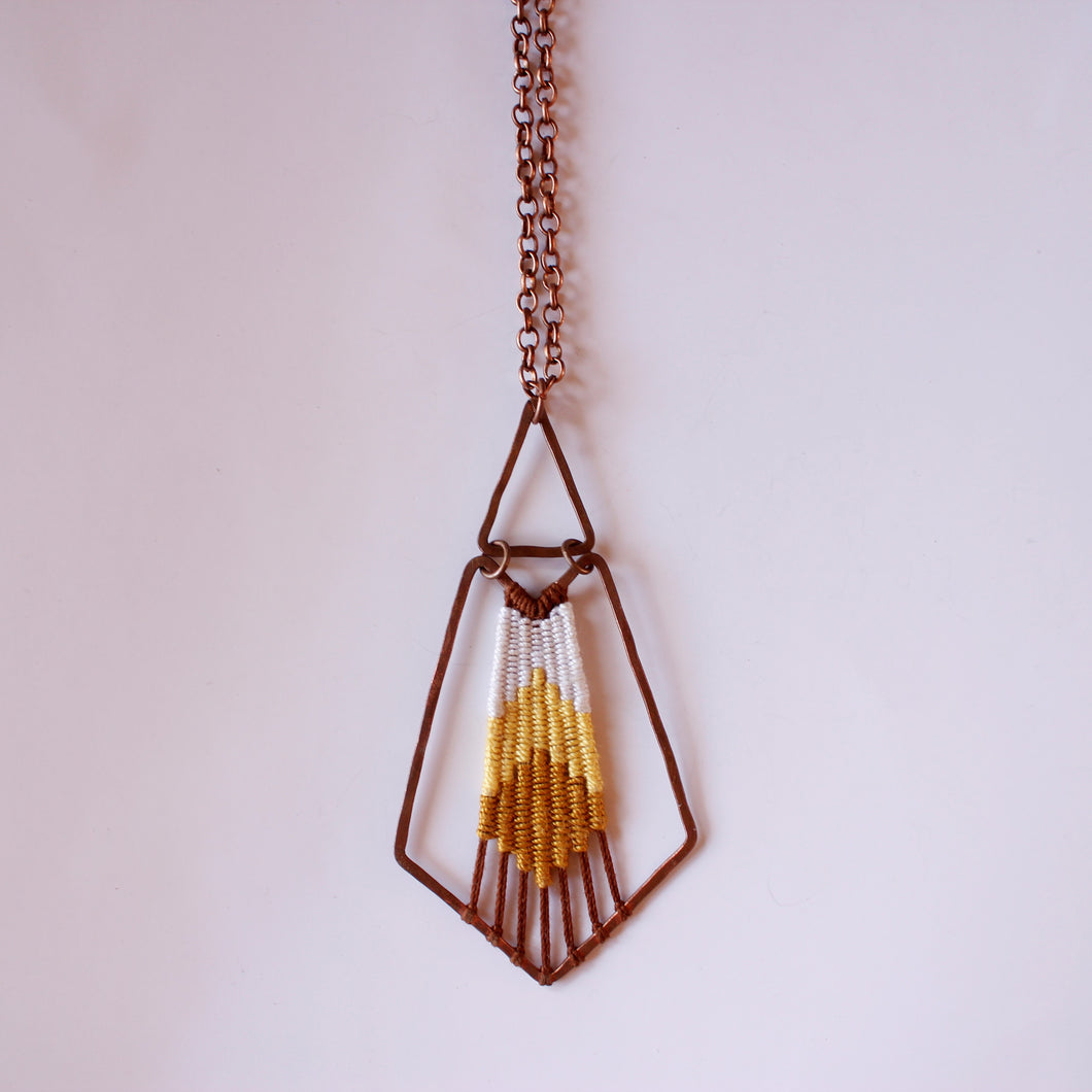 Handmade, Jewelry, Pendant, Necklace, Cotton, Copper, Yellow