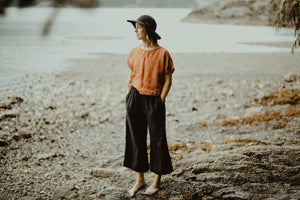 Jimi Collection, Linen, Made in Canada, Ethically Produced, Sustainable Fashion, Wide Leg, Pants, Wide Waistband, Black
