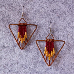 Handmade, Jewelry, Earrings, Cotton, Copper, Pyramid, Red