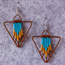 Load image into Gallery viewer, Handmade, Jewelry, Earrings, Cotton, Copper, Pyramid,  Turquoise