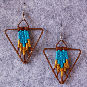 Handmade, Jewelry, Earrings, Cotton, Copper, Pyramid,  Turquoise