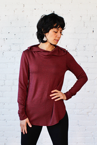 Gilmour, Ethically Made, Sustainable Loungewear, Made in Canada, Bamboo French Terry, Hoodie, Merlot, Red