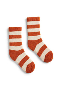 Lisa B, Crew Socks, Toddler, Merino, Cashmere, Made in the USA, Sustainable, Ethically Produced, Rugby Pumpkin, Orange, Stripe
