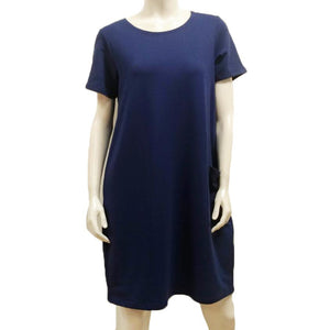 Gilmour, Ethically Made, Sustainable Loungewear, Made in Canada, Bamboo, French Terry, Short Sleeve, Pocket, Dress, Twilight Blue