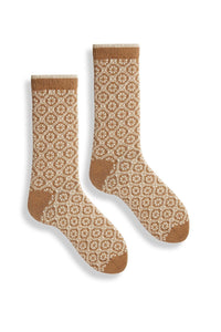 Lisa B, Crew Socks, Woman's, Merino, Cashmere, Made in the USA, Sustainable, Ethically Produced, Camel, Brown,Medallion