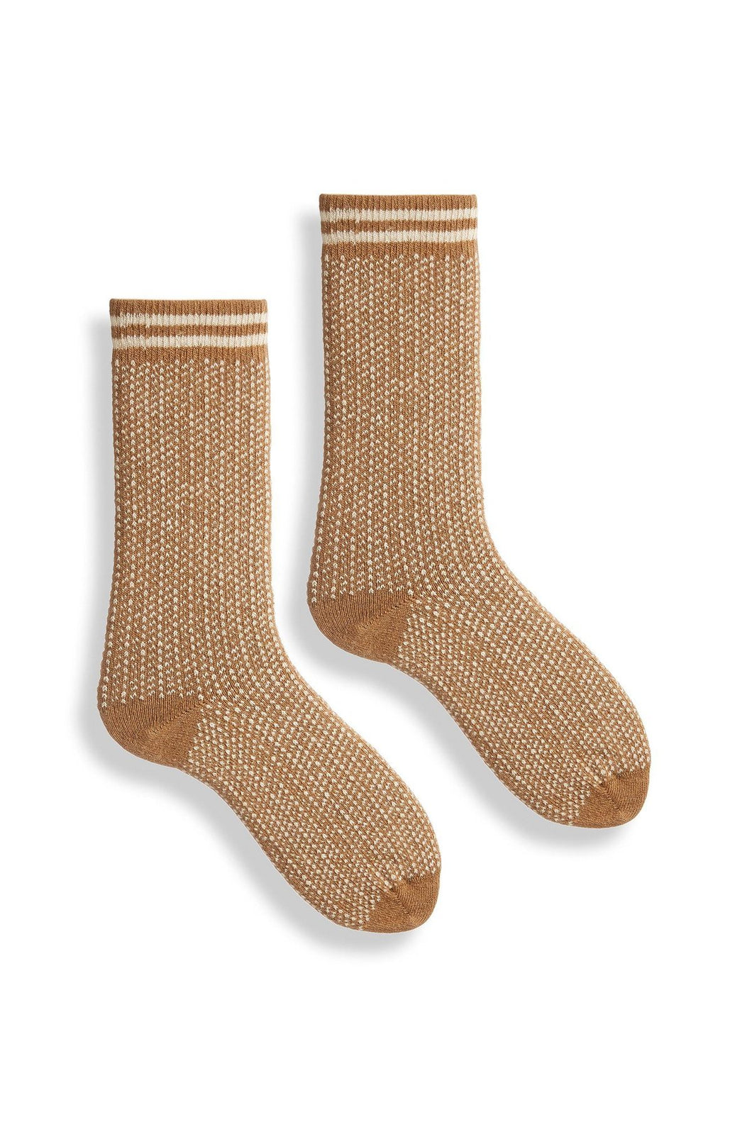 Lisa B, Crew Socks, Woman's, Merino, Cashmere, Made in the USA, Sustainable, Ethically Produced, Camel, Brown, Nordic Birdseye