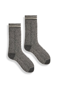 Lisa B, Crew Socks, Woman's, Merino, Cashmere, Made in the USA, Sustainable, Ethically Produced, Charcoal, Grey,  Nordic Birdseye