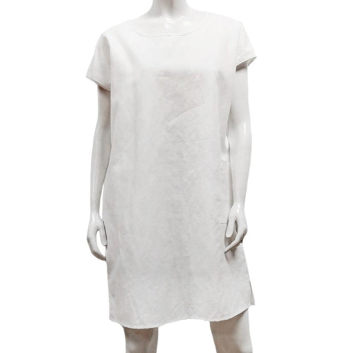 Gilmour, Ethically Made, Sustainable Loungewear, Made in Canada, Linen, Cotton, Pocket, Short Sleeve, Dress, White