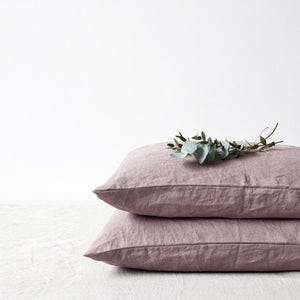 Lithuania Washed Linen Pillow Case Queen Size by Linen Tales - Pink, Ashes of Roses