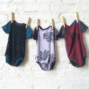 Bamboo/Cotton/Lycra Jersey, Made in Canada, Ethically produced, Sustainable Fashion, Silk Screened, Baby Onesie, Short Sleeve, One of a Kind