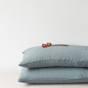 Lithuania Washed Linen Pillow Case King Size by Linen Tales - Blue Fog