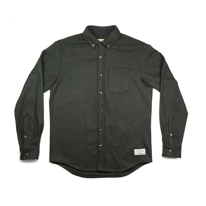 Anian, Made in Canada, Ethically Made, Recycled Wool, Melton, Menswear, Long Sleeve, Olive Green