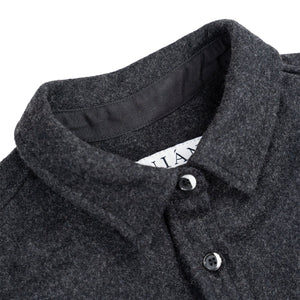 Anian, Made in Canada, Ethically Made, Recycled Wool, Melton, Long Sleeve, Charcoal, Grey